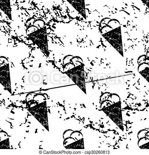 Ice cream pattern, grunge, monochrome - csp30260813