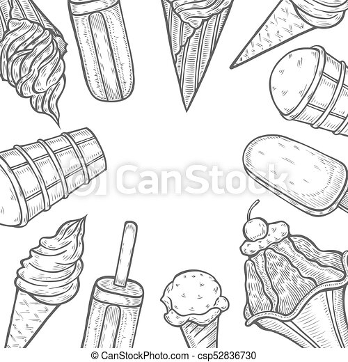 Hand Drawn Ice Cream Popsicle Shop Vector Hand Drawn Template