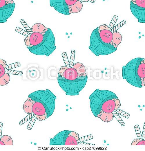Ice cream seamless pattern - csp27899922