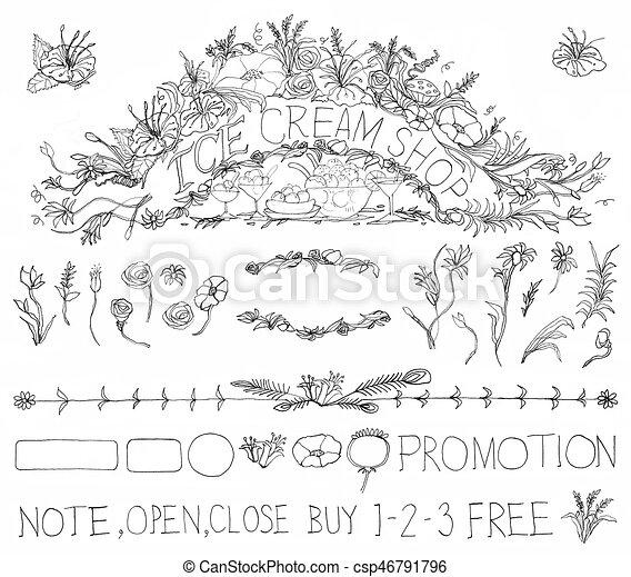 Ice Cream Shop Sign Element Pattern Pencil Hand Drawn Design Black