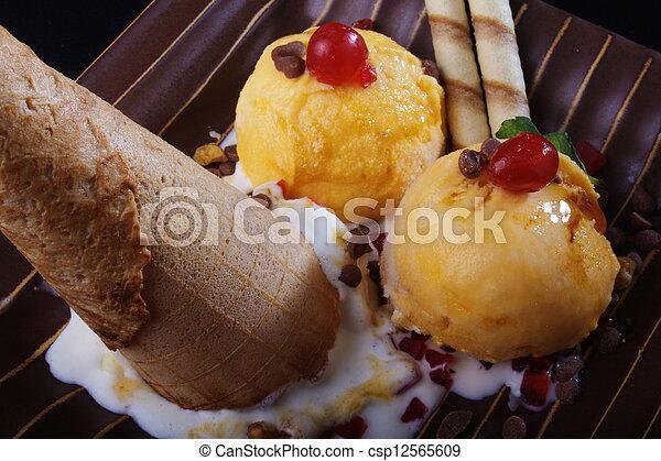 Ice cream sundae, scoops & a cone - csp12565609