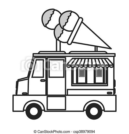 flat design ice cream truck icon vector illustration eps vectors rh canstockphoto com ice cream truck pictures clip art
