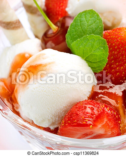 Ice Cream With Fruits - csp11369824