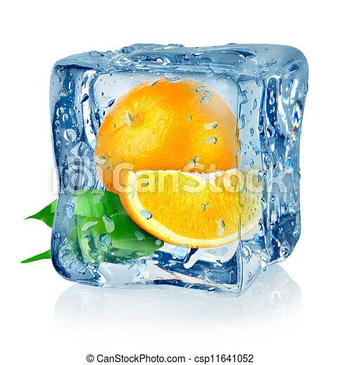 Ice cube and orange - csp11641052