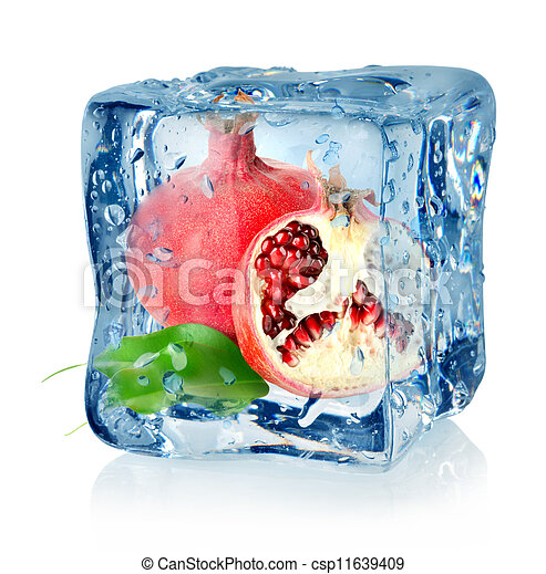 Ice cube and pomegranate - csp11639409