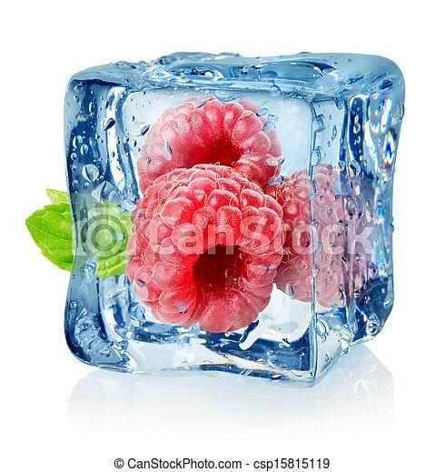 Ice cube and raspberries isolated - csp15815119