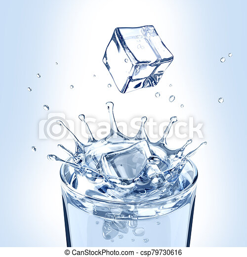 Ice cubes fall into a glass of water - csp79730616
