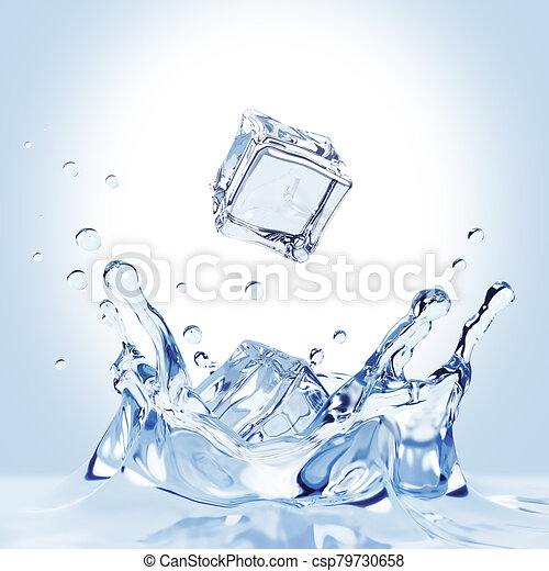 Ice Cubes Fall Into The Water - csp79730658