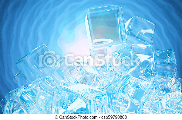 Ice cubes isolated on blue background 3d illustration - csp59790868