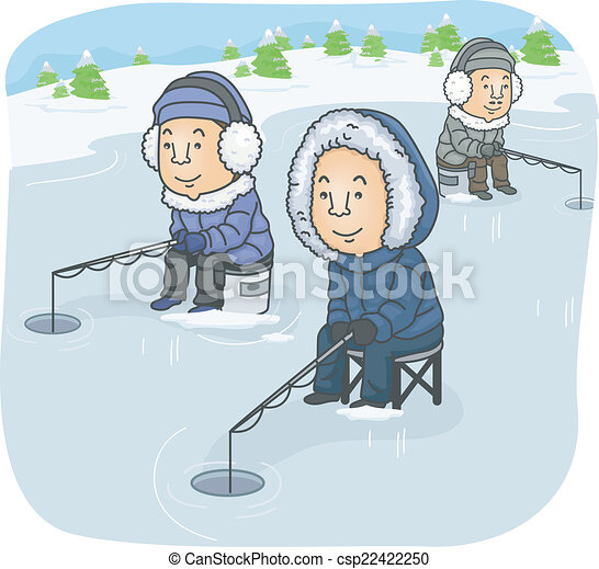 illustration featuring a group of men ice fishing rh canstockphoto com cartoon ice fishing clipart ice fishing clip art free