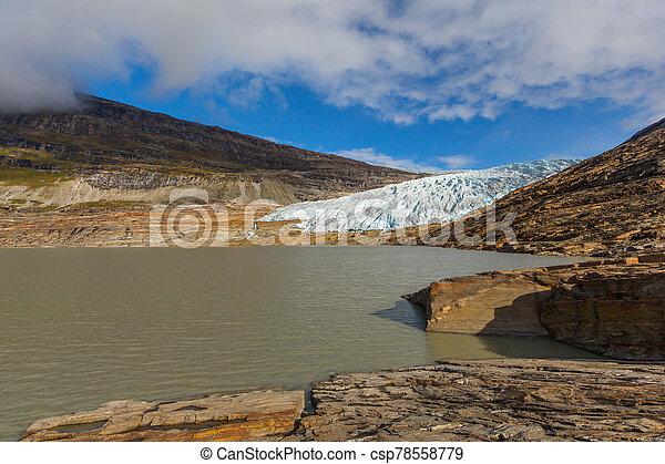 ice front of Svartisen glacier and Austerdalsvatnet - csp78558779