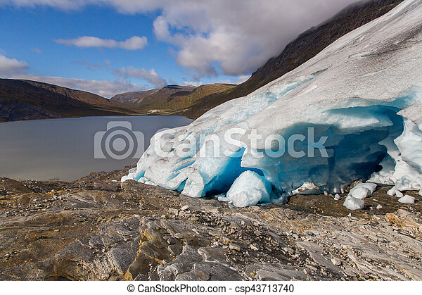 Ice front of Svartisen Glacier in Norway with lake - csp43713740