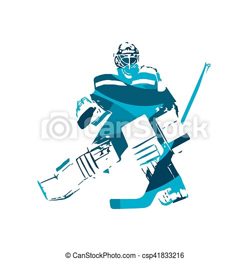 Ice Hockey Goalie Abstract Blue Vector Illustration