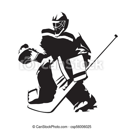 Ice Hockey Goalie Abstract Vector Silhouette