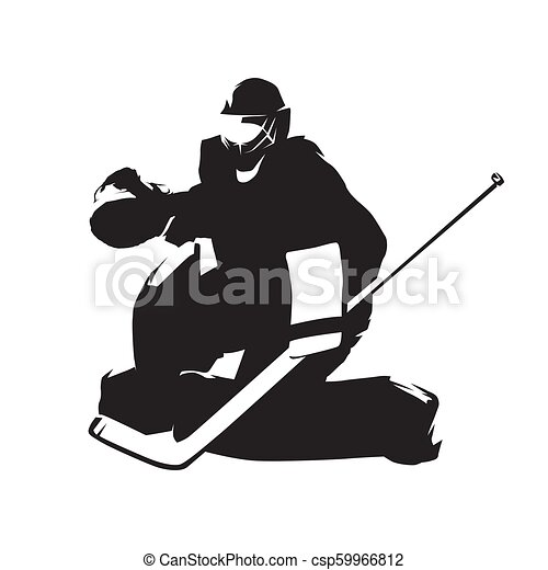 Ice Hockey Goalie Abstract Vector Silhouette Winter Team Sport