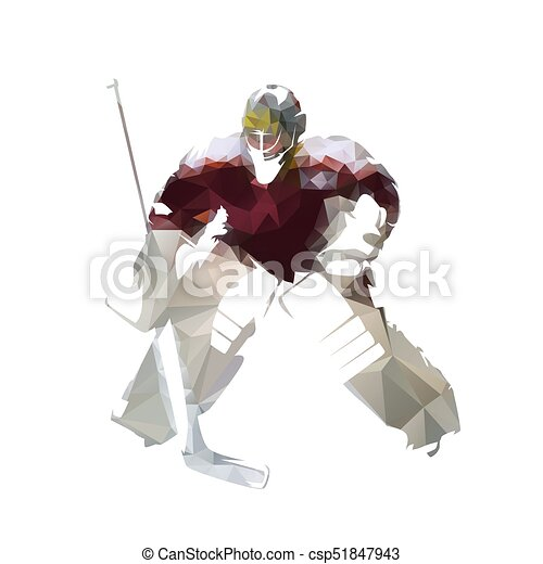 Ice Hockey Goalie In Dark Red Jersey Abstract Polygonal Vector