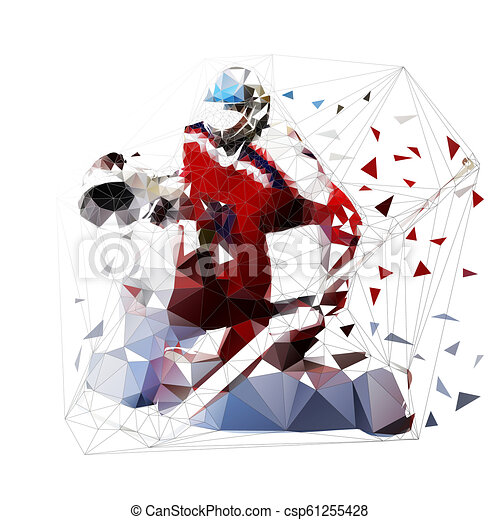 Ice Hockey Goalie In Red Jersey Isolated Low Polygonal Vector