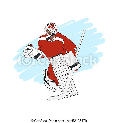 Ice Hockey Goalie Isolated Vector Illustration