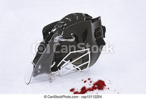 Ice Hockey Goalie Mask Blood On The Ice
