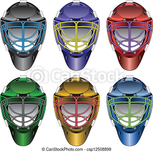 Ice Hockey Goalie Masks Illustration Of Ice Hockey Goalie Masks In