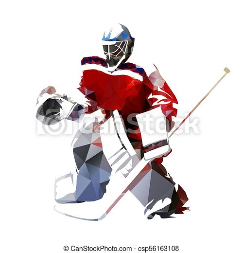 Ice Hockey Goalie Polygonal Vector Illustration