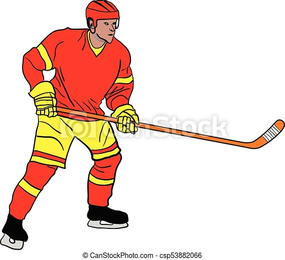 ice hockey player on white background vector illustration clip art rh canstockphoto com ice hockey goalie clipart ice hockey clip art images