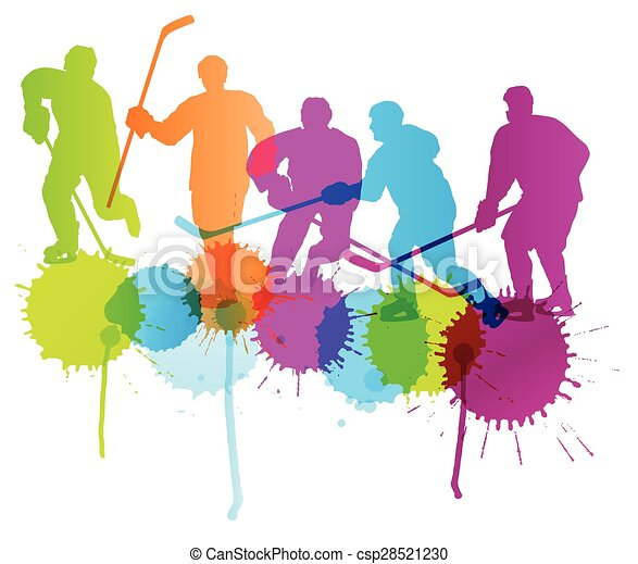 Ice hockey player silhouette sport abstract vector background concept - csp28521230