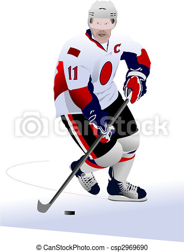 Ice hockey players. Colored Vector illustration for designers - csp2969690