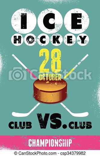 Ice Hockey typographical vintage gr - csp34379982
