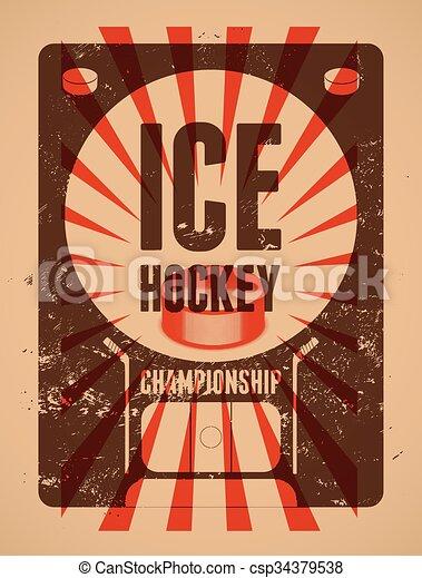 Ice Hockey typographical vintage gr - csp34379538