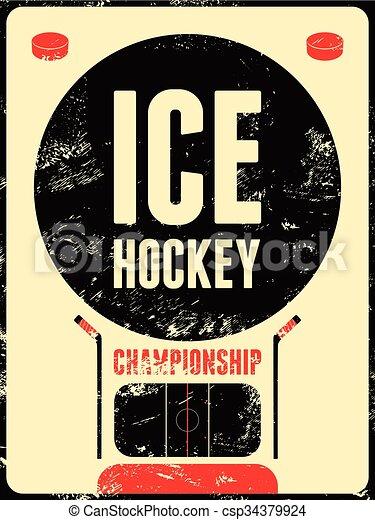 Ice Hockey typographical vintage gr - csp34379924