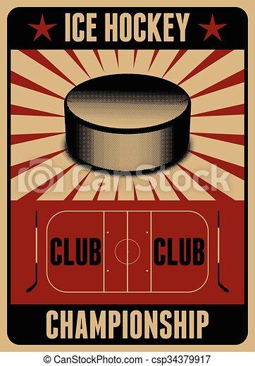 Ice Hockey typographical vintage st - csp34379917