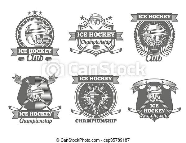 Ice hockey vintage vector labels, logos, emblems - csp35789187