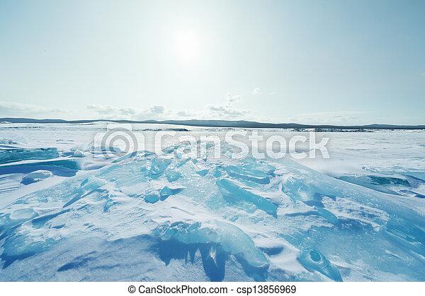 Ice of Baikal lake in Siberia  - csp13856969