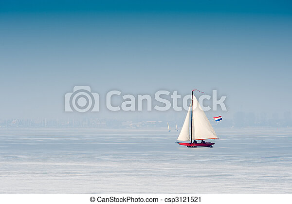 Ice sailing in the Netherlands - csp3121521