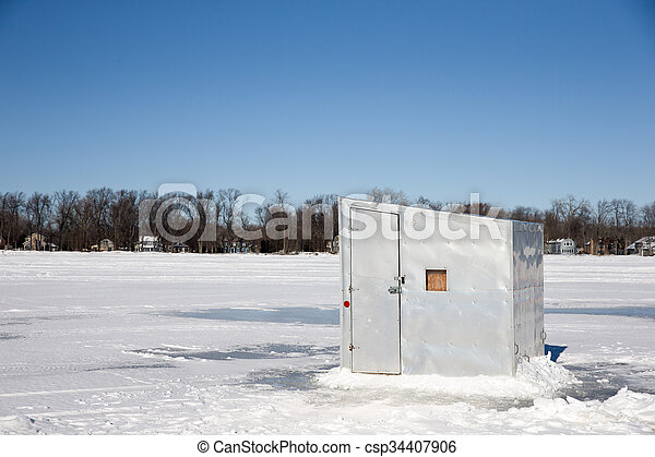 Ice Shanty on a Frozen Lake - csp34407906