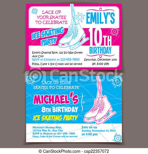 Ice Skating Birthday Party Invitation Cards