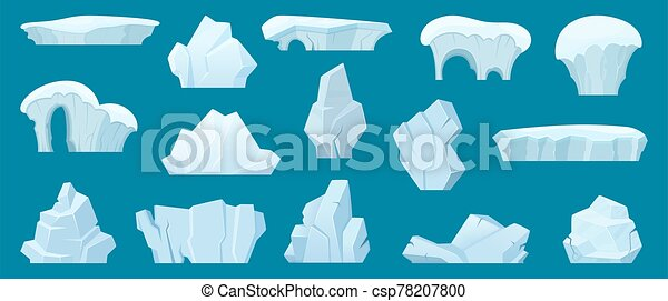 Iceberg. Arctic landscape with cold white ice rocks in the ocean water vector cartoon collection - csp78207800