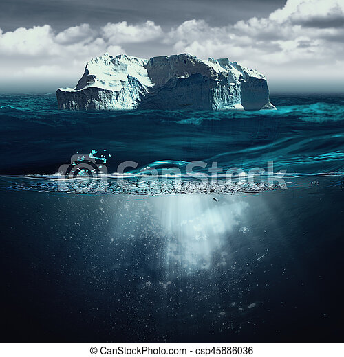 Iceberg, marine backgrounds with north ocean and underwater landscape - csp45886036