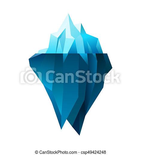 Iceberg on white background polygonal illustration for Clipart iceberg