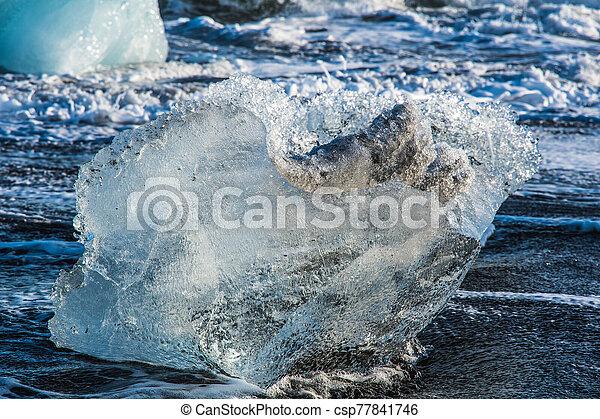 Icebergs on the coast of Diamond beach near Jokulsarlon in South Iceland - csp77841746
