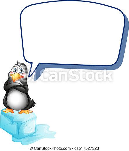 Un pingüino sobre un cubo de hielo con una llamada vacía - csp17527323