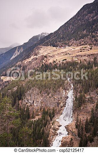 Iced Waterfall Long Exposure, Austria - csp52125417