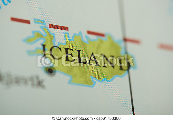 Iceland country on paper map - csp61758300
