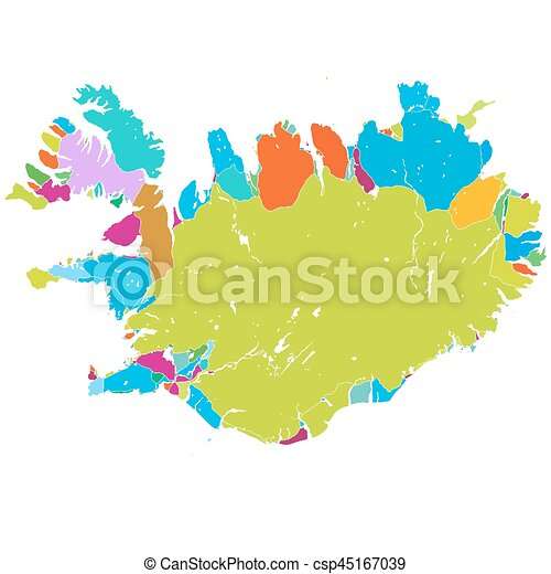 Iceland island colorful vector map, printable outline version, ready ...