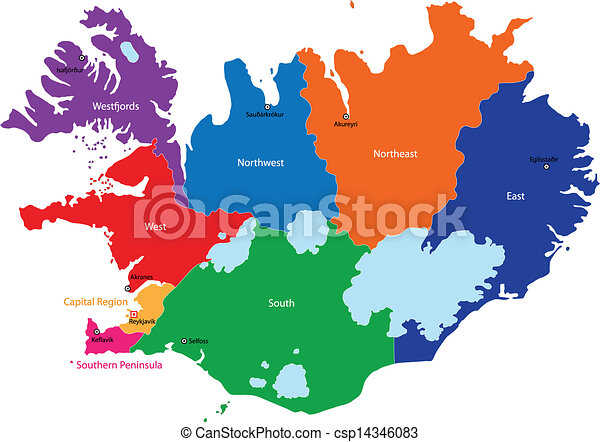 Iceland map. Map of administrative divisions of republic of iceland.