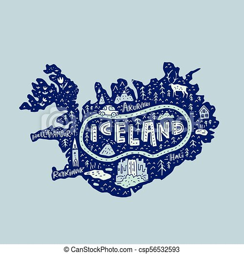 Iceland map illustration. Illustrated map of iceland. vector ...