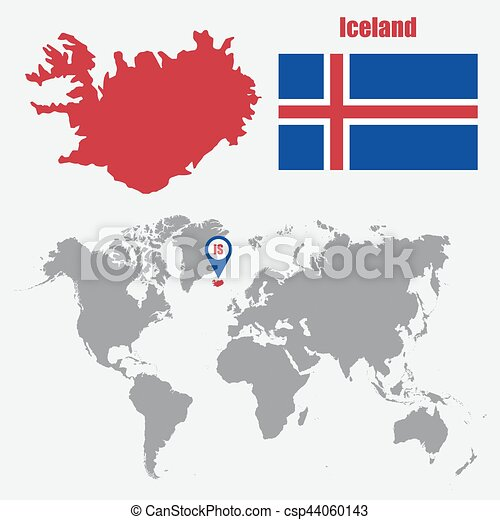 Iceland map on a world map with flag and map pointer. vector ...