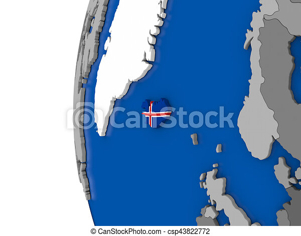 Iceland on globe map of iceland with its flag on globe 3d stock iceland on globe csp43822772 gumiabroncs Choice Image