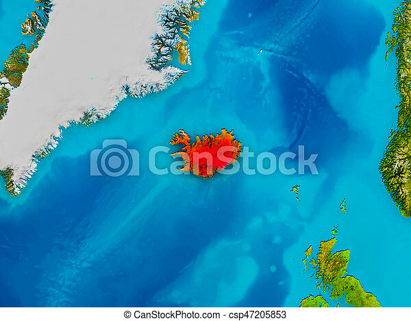 Iceland on physical map - csp47205853